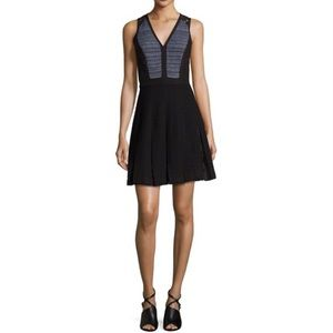 Rebecca Taylor Tweed Lace Pleated A-Line Dress